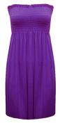 Janisramone Womens Ladies Plus Size Sheering Boobtube Bandeau Strapless Top Vest Dress