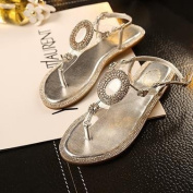 Si & /Spring and autumn in Europe and America the new/decorative belt buckle rhinestone rhinestones/hollow toe trendy/flat-bottomed insole/casual sandals