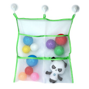 . Bath Toy Organiser-Large Storage for Baby/Kids Toys + 3 Bonus Strong Hooked Suction Cups, Green+White