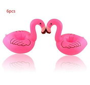 Yosoo 6pcs Cute Fanny Toys Red Flamingo Floating Float Inflatable Drink Can Holder Swimming Pool Bathing Beach Party Kids Bath Pool Toy
