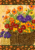 Basket of Mums - Welcome Fall & Thanksgiving - 70cm By 100cm Large Decorative Flag