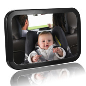 MTURE Baby Car Mirror Rear view baby seat mirror for rear facing baby seat fully adjustable easy instal Shatter-Proof Wide Clear View Angle - Black