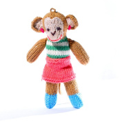 ChunkiChilli Toddler Monkey Soft Toy in Stripy Top/Red Skirt