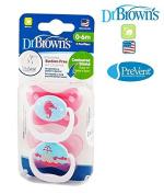 """DR BROWN """"PRE VENT"""" No.PV12001 - 2x Soothers Pacifiers Dummies Orthodontic Silicone Suction Air Free Channel/ PINK"""