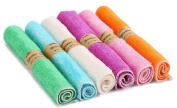 Estilo Bamboo Baby Washcloth - Dye-Free, Super Soft And Absorbent Rayon From Bamboo & Organic Cotton Blend, 6 Colour Pack 25cm x 25cm Rust Orange, White, Light Pink, Purple, Mint Green, Light Blue