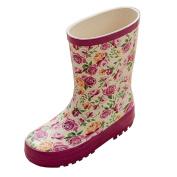 Lisianthus002 Little Kid Galoshes Girls Flowers Waterproof Shoes