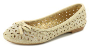New Girls/Womens Champagne Fashion Ballerinas Shoes With Bow Detail. - Champagne - UK SIZES 10-5