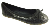 GIRLS SLIP ON GLITTER BALLERINA DOLLY PUMPS SHOES BOW DETAIL SIZE 10-2.5