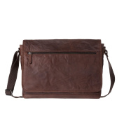 Mens Messenger bag in real wrinkled leather Work Laptop Shoulder Briefcase DUDU Brown