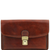 Tuscany Leather Arthur - Exclusive leather handy wrist bag for man Brown