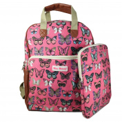 Claudia & Jason® New 2 pcs Girls Backpack with Matching Ipad Case Butterfly Print Ladies Canvas Rucksack School Travel Holiday Bag UK