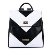 Backpack Women, Ladies Backpack, Leather Backpack for Women, Fyy 100% Handmade Premium Leather Casual Backpacks Shoulder Bag Travel Bag Black & White