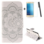 Huawei P9 wallet Case,Huawei P9 flip Case,Tebeyy White Flower Printing Drawing Design Pattern PU Leather Wallet Case Credit Card Holder Slot Protective with Stand Function Case Cover for Huawei P9 + 1x Screen Protector +1x Stylus Pen