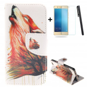 Huawei P9 Lite wallet Case,Huawei P9 Lite flip Case,Tebeyy Cool Wolf Animal Printing Drawing Design Pattern PU Leather Wallet Case Credit Card Holder Slot Protective with Stand Function Case Cover for Huawei P9 Lite + 1x Screen Protector +1x Stylus Pen