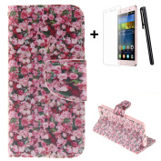 Huawei P9 wallet Case,Huawei P9 flip Case,Tebeyy Elegant Pink Floral Printing Drawing Design Pattern PU Leather Wallet Case Credit Card Holder Slot Protective with Stand Function Case Cover for Huawei P9 + 1x Screen Protector +1x Stylus Pen