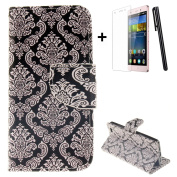 Huawei P8 Lite wallet Case,Huawei P8 Lite flip Case,Tebeyy Retro Totem Floral Animal Printing Drawing Design Pattern PU Leather Wallet Case Credit Card Holder Slot Protective with Stand Function Case Cover for Huawei P8 Lite + 1x Screen Protector +1x S ..
