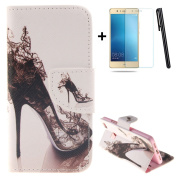 Huawei P9 Lite wallet Case,Huawei P9 Lite flip Case,Tebeyy Elegant High heeled shoes Printing Drawing Design Pattern PU Leather Wallet Case Credit Card Holder Slot Protective with Stand Function Case Cover for Huawei P9 Lite + 1x Screen Protector +1x S ..