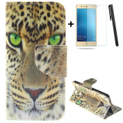 Huawei P9 wallet Case,Huawei P9 flip Case,Tebeyy Cool Yellow Tiger Printing Drawing Design Pattern PU Leather Wallet Case Credit Card Holder Slot Protective with Stand Function Case Cover for Huawei P9 + 1x Screen Protector +1x Stylus Pen