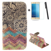 Huawei P9 Lite wallet Case,Huawei P9 Lite flip Case,Tebeyy Retro Wave flower Printing Drawing Design Pattern PU Leather Wallet Case Credit Card Holder Slot Protective with Stand Function Case Cover for Huawei P9 Lite + 1x Screen Protector +1x Stylus Pen