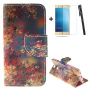 Huawei P9 wallet Case,Huawei P9 flip Case,Tebeyy Retro Wildflowers Printing Drawing Design Pattern PU Leather Wallet Case Credit Card Holder Slot Protective with Stand Function Case Cover for Huawei P9 + 1x Screen Protector +1x Stylus Pen