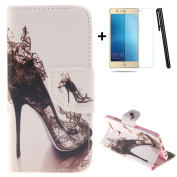 Huawei P9 wallet Case,Huawei P9 flip Case,Tebeyy Elegant High heeled shoes Printing Drawing Design Pattern PU Leather Wallet Case Credit Card Holder Slot Protective with Stand Function Case Cover for Huawei P9 + 1x Screen Protector +1x Stylus Pen