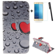 Huawei P9 Lite wallet Case,Huawei P9 Lite flip Case,Tebeyy Red Love Heart Printing Drawing Design Pattern PU Leather Wallet Case Credit Card Holder Slot Protective with Stand Function Case Cover for Huawei P9 Lite + 1x Screen Protector +1x Stylus Pen