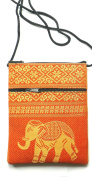 Cotton elephant passport shoulder bag - Orange with 2 zip pockets