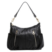 BG® Women Double Zipper Pockets Hobo Style Black Cow Leather Shoulder Day Bag