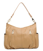 BG® Women Double Zipper Pockets Hobo Style Khaki Cow Leather Shoulder Day Bag