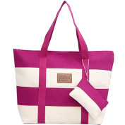 BG® Women Canvas Chic Colour Blocking Pink White Shoulder Handbag
