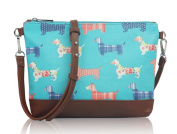 Mini Turquoise Cross Body Messenger bag with Sausage Dogs