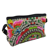 Multicoloured canvas shoulder handbag with floral embroidery and butterflies