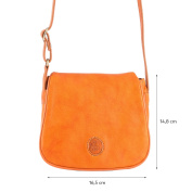 Small Womens Shoulder / Cross Body Bag in Real Soft Leather with Flap Nuvola Pelle Orange