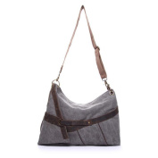 ETASSO Ladies Cowhide Canvas Messenger Bag Shoulder Bag
