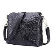 Moonsister Fashion Black Camellias Flower Genuine Leather Shoulder Bag, Ladies Women Out Shopping Street Bag Handbag