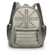 EQJFashion Women's Rivet Litchi Rind Leather Backpack Satchel Bag Casual Rucksack