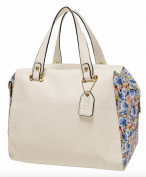 Envy Ladies White Handbag with floral side panels