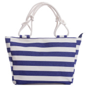 Stripe Cotton Canvas Handbag Shoulder Tote Holiday Bag with a Matching Purse