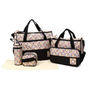 Baby Black Nappy Changing Bag Set Hospital or Birthing Bags For Mummy With Colourful Dot