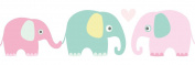 lovely label border, self-adhesive, 450 x 11.5 cm, animal design with elephants colourful