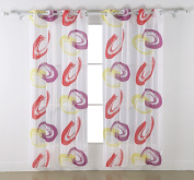 Deconovo Decorative Print Pattern Faux Linen Grommet Geometry Designed Sheer Curtains for French Doors, 140cm x 180cm inch, Red and Pink, 1 Pair