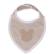 Mickey Decoration and Stripe Pattern Large Organic Cotton Triangle Bibs Simple Design