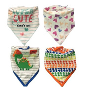 Baby Bandana Cotton Drool Bibs for Drooling and Teething 4 Pack Gift Set For Boys and Girls Toddlers