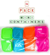 16pc Plastic Mini Storage Boxes Baby Weaning Feeding Freezer Food Pots Containers