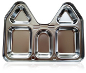 Stainless Steel Section Plate, Castle (House) Shape - LIFETIME - Highest Quality, BPA Free