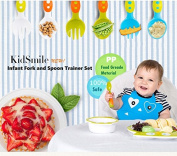 Ergonomic Cutlery with Travel Case, Kidsmile BPA Free Infant Fork and Spoon Trainer Set / Comfortable Self Feeding Handle - Perfect Baby Shower & Baby Registry Gift