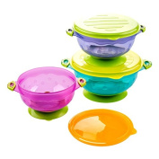 Stay Put and Spill Proof Suction Bowl Set, Kidsmile 3 Count Premium Colourful Baby Bowls / Set of 3 Different Size Bowls & Seal Easy Lids - Perfect Storage Gift Set for Babies & Toddlers
