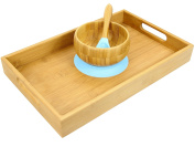 Bamboo Bowl and Spoon Set with Tray, Baby Toddler Tableware