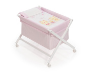 Interbaby Bear Trolley - minicuna Wooden + Textile white/pink