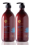 Luseta Coconut Milk Shampoo & Conditioner Set 2x1000ml Nourish and Moisturise Hair Repair Damaged and Weakened Hair Sulphate free Phosphate free Paraben free Colour Safe